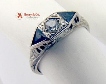 Art Deco 18K White Gold Diamond Synthetic Sapphire Ring