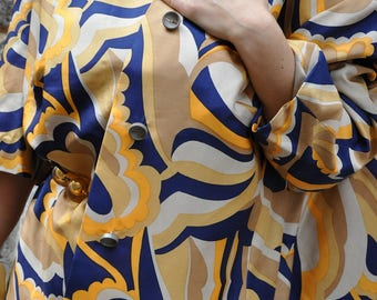 1960s optical  psychedelical silk jacket