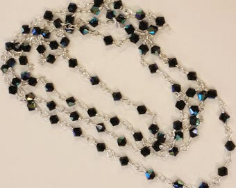Swarovski 4mm black bicone sterling silver wire-wrapped long necklace