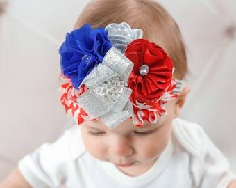 Patriotic Headband/Shabby Chic Headband/Infant Headband/Baby Headband/Newborn Headband/Toddler Headband/Girls Headband/Birthday Headband