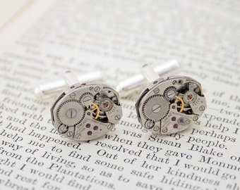 Watch Cufflinks for Men Steampunk Jewelry Sterling Cufflinks for Men Gifts for Husband Watch Movement Cuff Links Christmas Gifts for Him