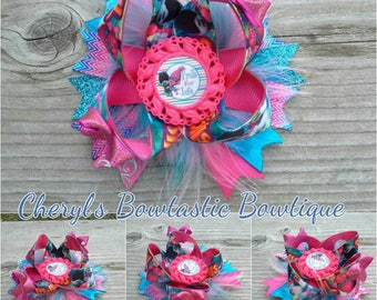 Trolls for Life inspired Troll twisted boutique bow with feathers, Poppy Troll bow, Troll Movie bow, Trolls for life bow,  Made to order!