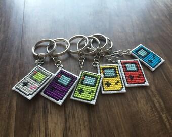 Cross Stitch Gameboy Color Keychain