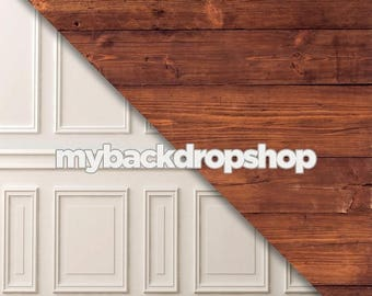 Combo - Two 2ft x 2ft  Vinyl or Poly Photography Backdrop and Floor Drop -  Fancy White Wall / Dark Wood Floordrop - Items 1846 & 1293