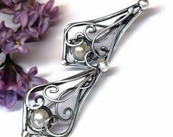 Pearl Earrings, Sterling Silver, Handmade, Stud earrings