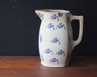 Antique Blue and White Floral Ironstone Pitcher, Antique Ironstone ~ Ewer, Milk Pitcher,
