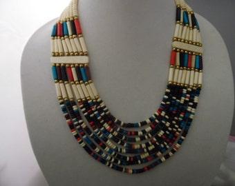 Southwestern Style Beaded Bib Necklace