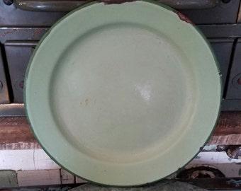 Mid Century Green Enamelware Plate