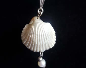 shell and pearl necklace with sterling silver