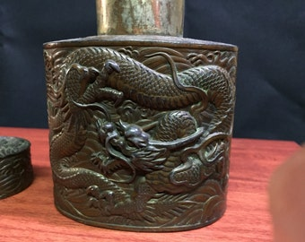 1800 tea container japanese antimony  beautiful DRAGONS