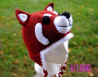 Red Panda Hat. Crocheted Red Panda Hat. Red Panda Hat for Adults. Panda Hat. Crocheted Panda Hat.