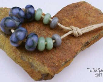 Blue Green Dotted Handmade Glass Bead Set with Spacers