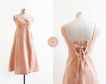 British Linden Dress | japanese dusty pink linen midi dress