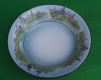 Vintage Golf Porcelain,  1920s Comical Golf Cereal Bowl Grimwades China Stoke on Trent England