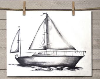 Sailboat Art Print - Boat Art Print - Sailboat Decor - Sailboat Art - Sailboat Drawing - Sailboat Artwork