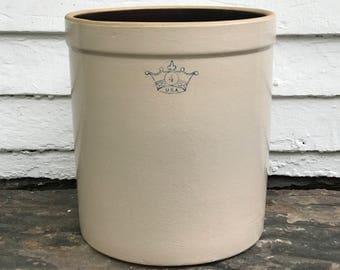 antique crown crock ~ 1900-1920's ~ 4 gallon blue crown crock ~ Ransbottom Brothers crock ~ big crock ~ blue crown crock ~ farmhouse antique