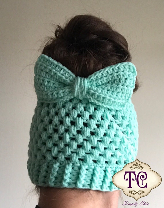 Crochet Messy Bun Beanie, Messy Bun Hat, Mom Bun Hat, Bun Hat, Womens ...