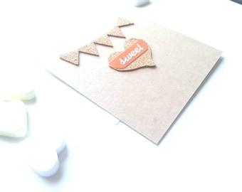 Mini postcard with transparent envelope, mini greetingcard, valentines day