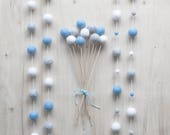 Blue Grey White Felt Ball Garland, Baby Boy Nursery, Boy Blue Shower Gift, Blue Bunting, Blue Boy Party Decor, Blue Cake Smash, Photo Prop