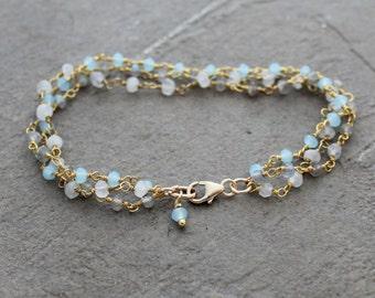 Rosary Bracelet - Multicolor Bracelet - Gemstone Bracelet - Birthstone Bracelet - Stacking Bracelet - Multi Strand Bracelet