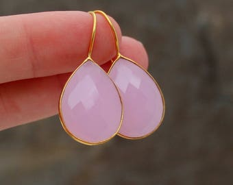 Pink Chalcedony Earrings - Teardrop Earrings - Pink Gemstone Earrings - Chalcedony Earrings - Pink and Gold Earrings - Pink Teardrop Earring