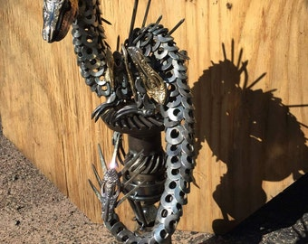 Welded scrap metal dragon