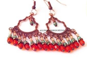 Boho Earrings | Gypsy Earrings | Bohemian  Earrings | Bohemian Luxe Orange Green Earrings