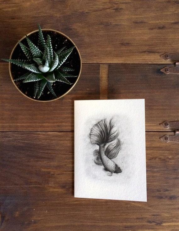 "Beta Fish Charcoal Drawing PRINT on 5""x7"" Card - Siamese Fighting Fish - Black and White - Birthday Card - Fish Print"