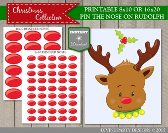 INSTANT DOWNLOAD Printable Christmas Party Pin the Nose on Rudolph Game / Class Kid's Party / Christmas Shop / Item #3050