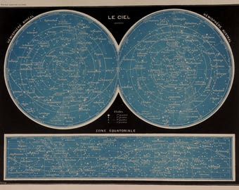 Antique print 1897-1904.Astronomy.Chromolithograph.The SKY.Constelations,Stars,Hemispheres.115 years old print.9x12,1 inches or 31x23cm.