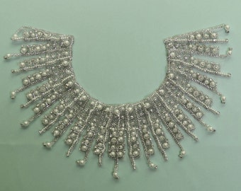 Crystal and pearl beaded collar , crystal embellishment - Radiance
