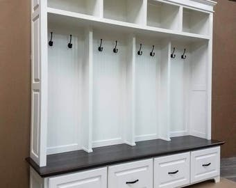 THE WILLIAMSBURG Mudroom Bench Lockers Cubbies Storage Halltree Furniture