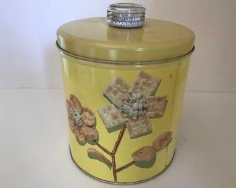 Vintage Krispy Kan with Blue magic glass top- Yellow- Storage tin