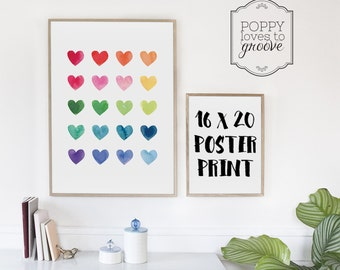 Watercolour Hearts POSTER PRINT, Rainbow Art Print, Fine Art Print for Girls, Kids Room Art, Fine Art Poster, Nursery Wall Decor, 16x20