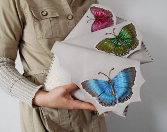 Butterfly clutch,Unique Butterfly leather bag,Leather painted purse,Bridesmaid cluth,Brides maid gift,Painted butterfly bag,Elegant clutch