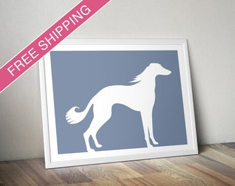 Saluki Print - Saluki Silhouette, Saluki art, dog portrait, modern dog home decor