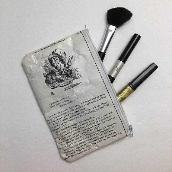 Alice in Wonderland Book Themed Pencil or Make-up Pouch - The Mad Hatter