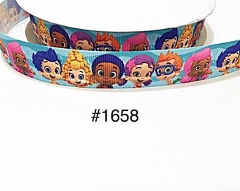 "3 or 5 yard - 7/8"" Bubble Guppies and Friends with Bubble on Blue Grosgrain Ribbon Hair bow"