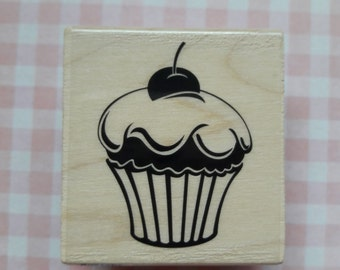 Cupcake With Cherry Wood Mounted Rubber Stamp Scrapbooking & Paper Craft Supplies