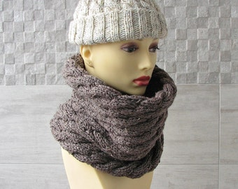 Taupe Tweed Wool Men's  Scarf Knitted Cowl - Circle Scarf - Mens winter scarf -  Mens Fashion - Gift for Men