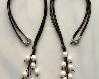 White Freshwater Pearls and Dark Brown Hemp Cord Y Necklace - Summer Boho Chic
