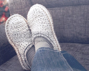 Crochet pattern- men basic slippers with rope soles,soles pattern included,scuffs,clogs,loafers,home shoes,adult,teen boys,footwear,cord