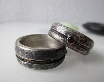 Wedding rings forged Silver Gold Garnet Weddingrings Sterling, 14 k gold, Garnet