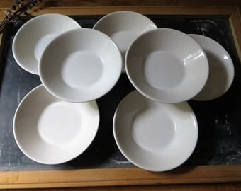 Syralite by Syracuse China White Bowls Set of 7 Berry Dessert Bowls Restaurant Ware