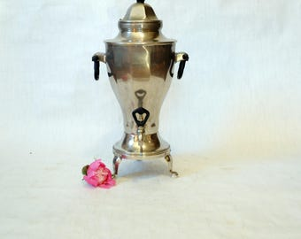 Large Soviet Russian Samovar  -Working -  Electric Metal Tea Pot - Nickel Plated Brass - 1950s - from Russia / Soviet Union / USSR