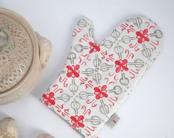 Oven Mitt, Pot Holder, Potholder, Kitchen Gloves, Cotton potholders, Floral ornament potholders, Grey Red ornament Oven Mitts, Potholders