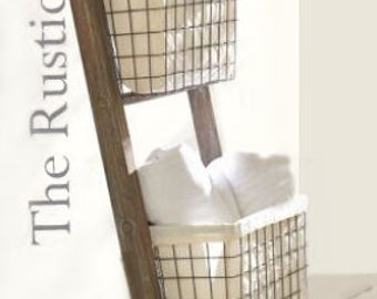 Rustic Bathroom Ladder -Farmhouse Ladder - Rustic 6ft - 4ft Ladder - Wooden Ladder - Rustic Towel Rack -Primitive Home Decor - Magazine Rack