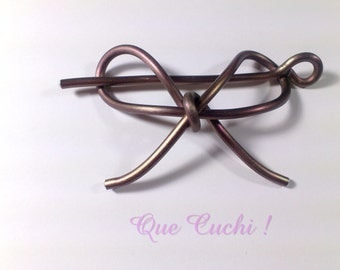 bow barrette hair for aluminum brown
