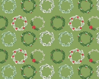 Comfort and Joy Wreaths Green - C6263 Green by Designs by Dani for Riley Blake Designs