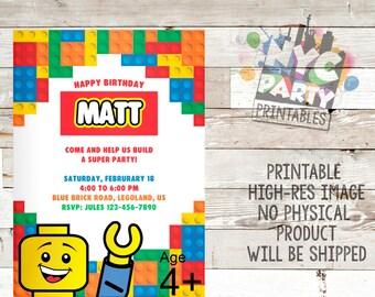 Lego, Lego Party, Lego Birthday Party Invitation, Lego Birthday Invite